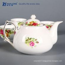 buy English teapot / bone porcelain rose flower printed English teapot set with gold rim