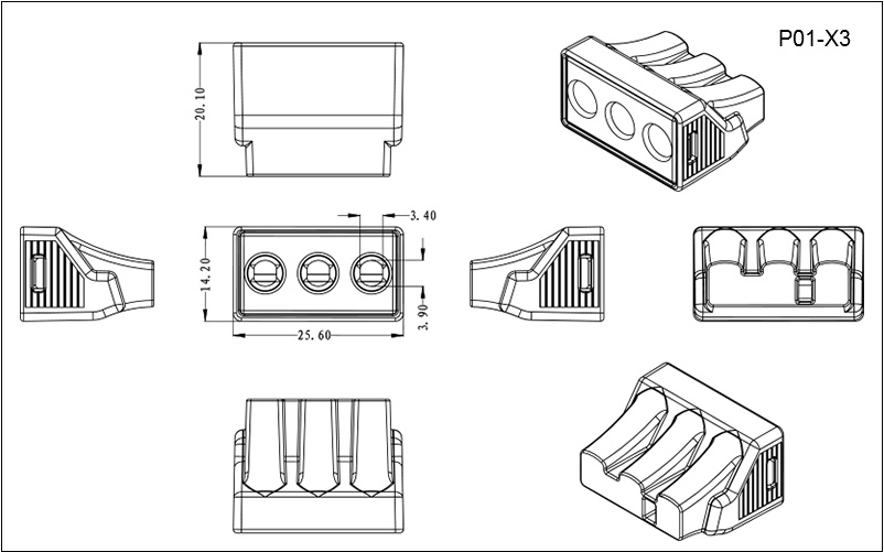 Push-in wire connectors for rotating electric machines