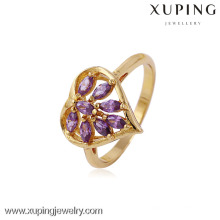 11433 Atacado Charms Xuping Moda Mulher Ouro 18K -Plated Heart Flower Ring