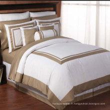 Housse de couette blanche de Satin Stitch de l'hôtel italien Housses de couette et couette traditionnels (DPFB8085)