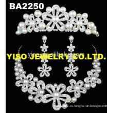 Conjunto de joyas de cristal de perlas