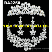 Conjunto de jóias de pérolas de cristal