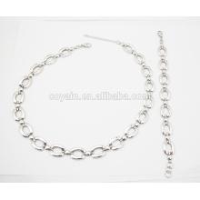 316L acero inoxidable cadena de acoplamiento pulsera y collar conjunto de joyas