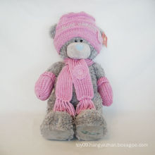Plush Wool Hat Pink Bear
