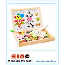 Rompecabezas de madera magnético doble tablero de dibujo juguetes