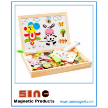 Magnetic Wooden Puzzle Double Drawing Board Toys
