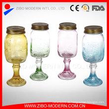 Gewohnheit 16oz Glasmaurer-Gläser Großhandelsbecher mit Handgriff
