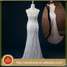 RASA-31 2015 New Arrival Hanging Neck Crepe Bridal Wedding Dress Tulle Sexy Backless Bride Dressing Gown for Wedding Party