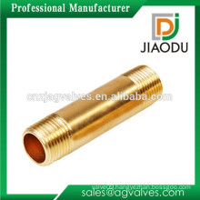 High qulity and low price zhejiang manufacture forged original brass color male threaded npt brass long nipple