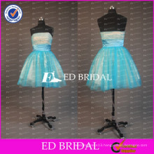 ED Bridal Charming Strapless Ball Gown Tulle Short Prom Dresses With Ribbon Sash 2017