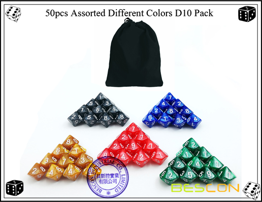 50pcs Assorted Different Colors D10 Pack-3