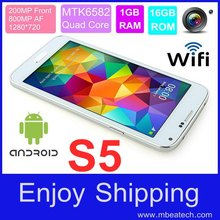 Perfect S5 MTK6582 Quad Core 1GB RAM 16G Rom Rear Camera 13,0 MP 5.1 Inch Android 4.4 mobiele telefoon met gratis geval