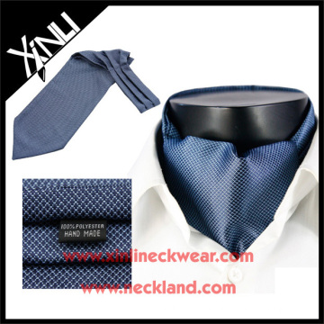 Mens Fashion Geometrical Blue Ascot Ties 100% Microfiber Ascot Cravats