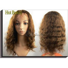 4# No Shedding Human Hair Full Lace Wig , Virgin Indian Hum