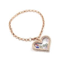 Chaude nouvelle arrivée rose or en acier inoxydable perle forme chaîne charme bracelet