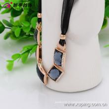 (Collier-00030) Collier de bijoux strass plaqué or Fashion femmes en alliage de cuivre