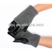 Women opera long leather&wool Winter Warm driving gloves