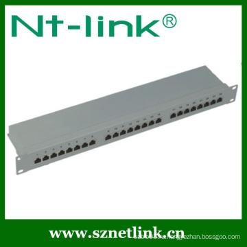 19-дюймовая 24-портовая коммутационная панель Cat6 STP для монтажа в стойку