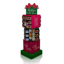 Display de papel giratório criativo para presentes, exibição de papelão colorido PDQ