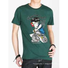 T-shirt en coton imprimé personnalisé de la mode drôle de carton des hommes