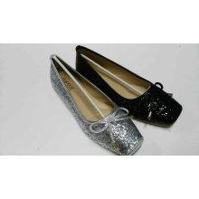 Plain Toe Women Flat Shoes with Glitler (NU020)
