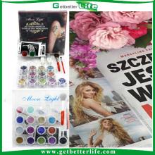 2015 getbetterlife15 couleurs 20 pcs pochoir tatouage temporaire tatouage kit/paillettes kit/paillettes tatouage encre de tatouage