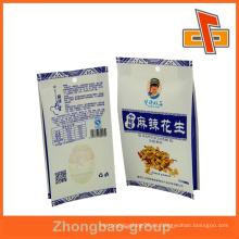 Bolso de papel de gusset blanco kraft sellado térmicamente para envases de cacahuete picante con asa redonda