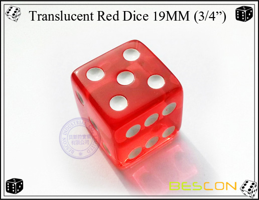 Translucent Red Dice 19MM