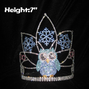 Crystal Lovely Owl Pageant Crowns With Snowflakes