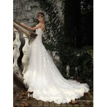 ZM16013 Art und Weise weg vom Schulter-Schatz-Ausschnitt-weißen Tulle ein Linie Kleid-Hochzeits-Kleid 2016