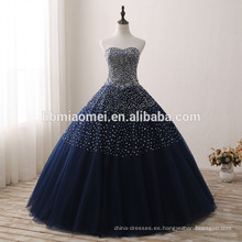 2017 nuevo diseño de color azul vestido de boda nupcial lentejuelas y diamante decorado vestido de boda azul al por mayor