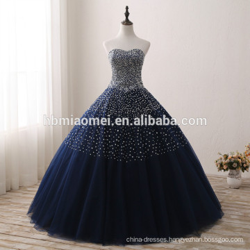 2017 New design blue color bridal wedding gown sequins and diamond decorated blue wedding dress wholesale