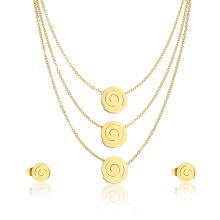 Spiral Disc Charm Halskette einfaches Design Ohrring ausgefallene Schmuck-Set