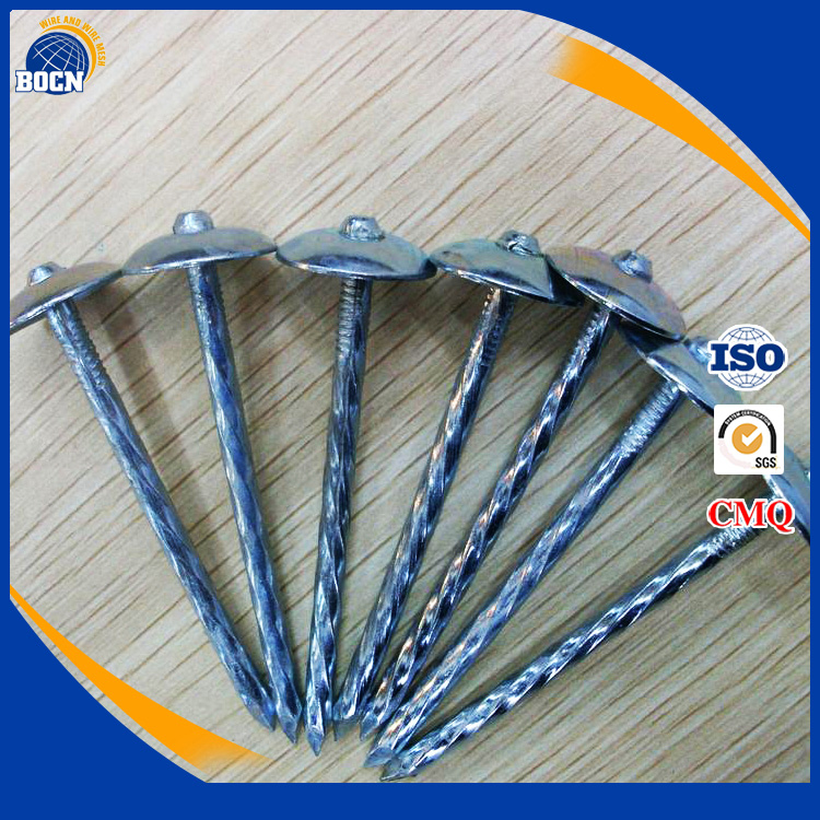 Galvanised umbrella roofing nails with rubber washer