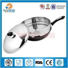 casserole antiadhésive à double fond en acier inoxydable
