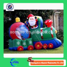 Elegante Natal gigante inflável ao ar livre Papai Noel, homem inflável e carro
