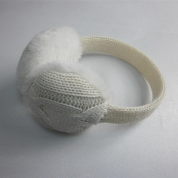 Ladies White Cable Knitted Ear Muff