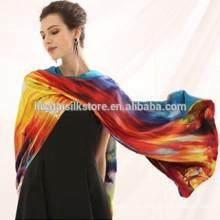 Duble paño de seda pura bufanda personalizada bufanda de impresión de satén de seda de gran chal