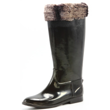 Black Bright Women Riding Boots With Wool Collar