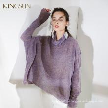 Damen Free Style Rollkragenpullover, Fancy Garn Merino Wolle Pullover, lose slouchy Strickpullover