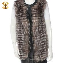 Black Long Genuine Raccoon Fur Gilet Raccoon Fur Vest