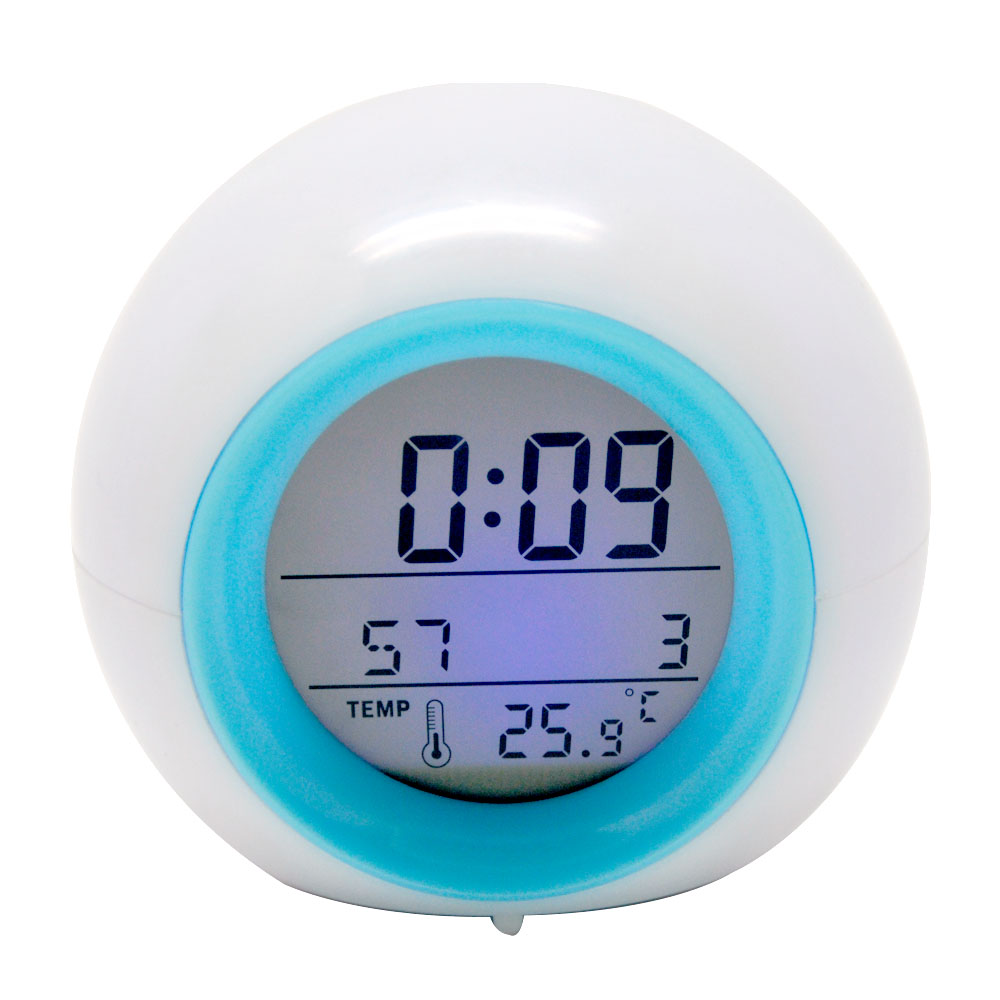 Round digital clok LED alarm clock with nature sound