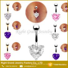 Plateado oro rosa plateado corazón cúbico zirconia diente ajuste ombligo ombligo anillos