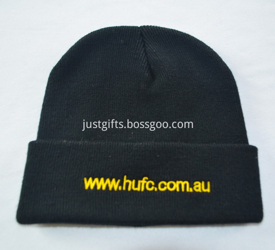 Promotional Black Knitted Caps with Logo1