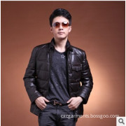 Lamb Leather with Down Patted Jacket for Man, Winter Coat