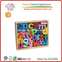 new design hot sale wooden alphabet box OEM wooden alphabet set with good quality EZ2043
