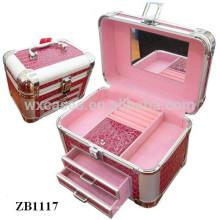 Новые прибытия алюминиевая коробка ювелирных изделий с 2 ящиками