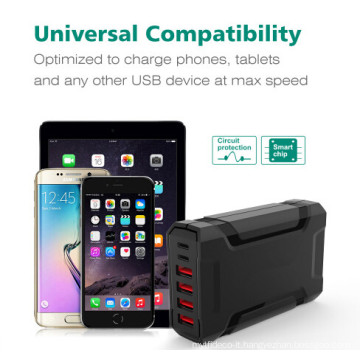 60W USB-C mobile phone charging station with 6 ports