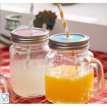 Botella de agua de pequeño volumen Cristalería Botella de masón con mango
