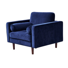 Sitting Room Comfortable Modern Couch Navy Blue Velvet Sofa Chair Living Room Furniture